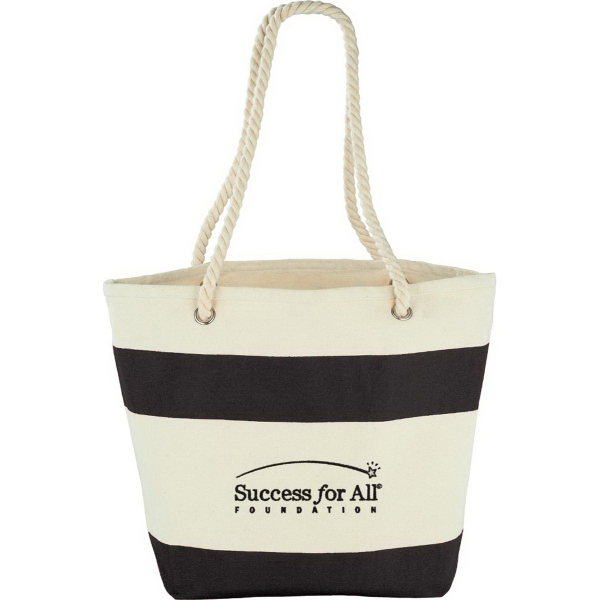 Imprinted Capri Stripes Cotton Shopper Tote