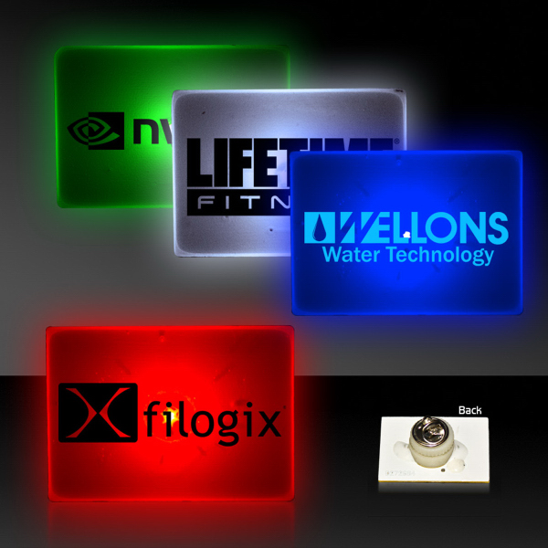 Promotional Rectangle Shape Flashing LED Light Up Glow Button