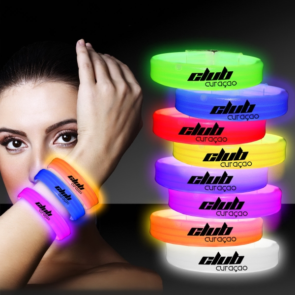 "Imprinted 9"" Deluxe Triple Wide Light Up Glow Bracelet"