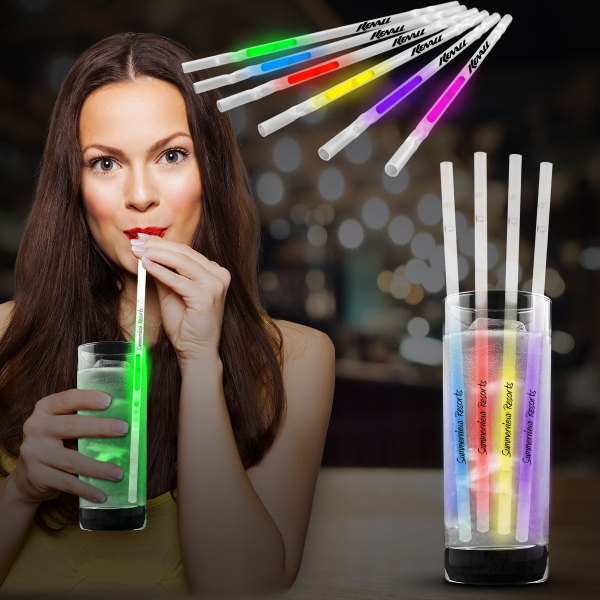 "Customized 9"" Glow Light Up Motion Straw"