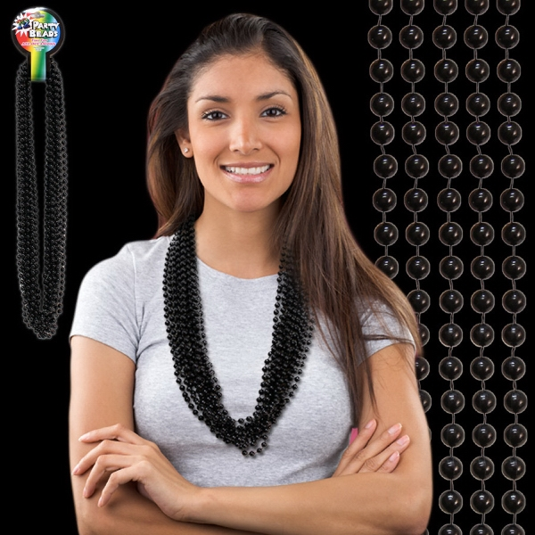 Printed Black Metallic Beaded Necklace