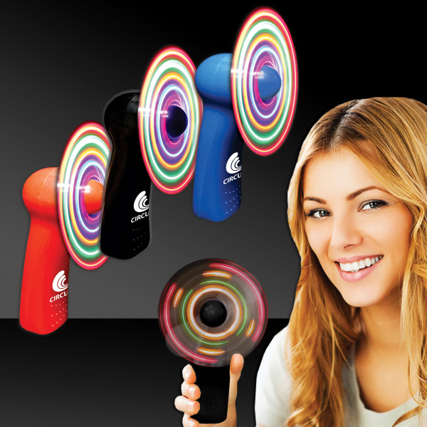 Imprinted Handheld MultiColor LED Light Up Glow Fan