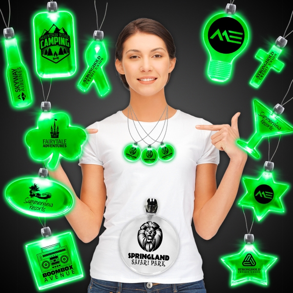Promotional Green Light-Up LED Acrylic Pendant Necklace