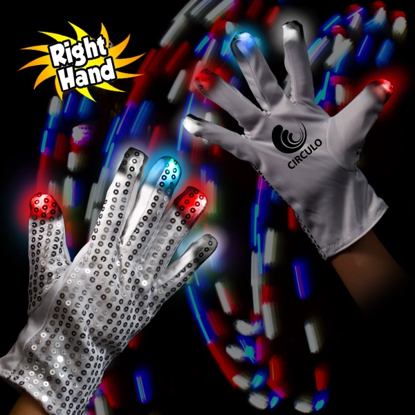 Custom Patriotic LED Glow Light Up Rock Star Glove (Right Hand)