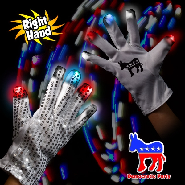 Customized Democratic LED Light Up Glow Sequin Glove