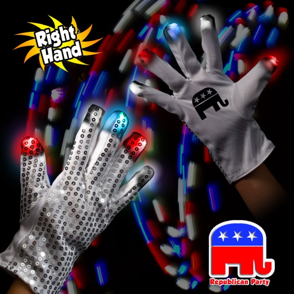 Printed Republican LED Light Up Glow Sequin Glove