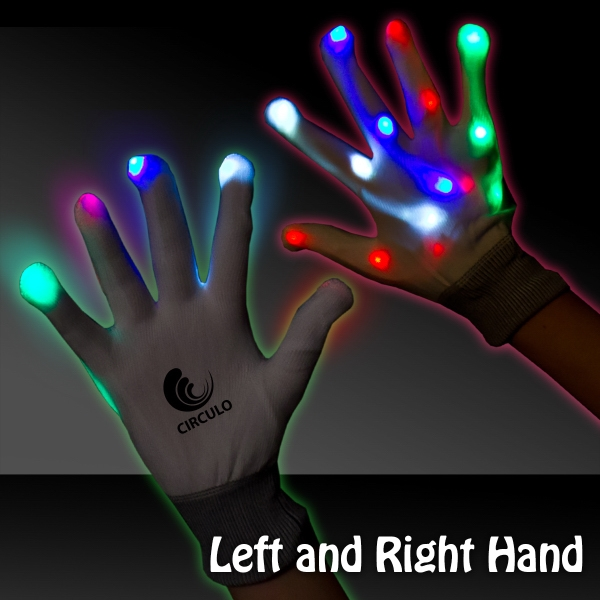 Imprinted Light Up LED Glow Rainbow Gloves