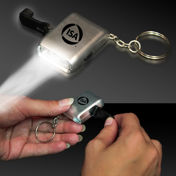 Imprinted Everlasting Flashlight Light Up LED Glow Keychain