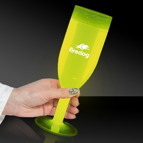 Personalized 4 1/2 oz Yellow Light Up Glow Champagne Glass
