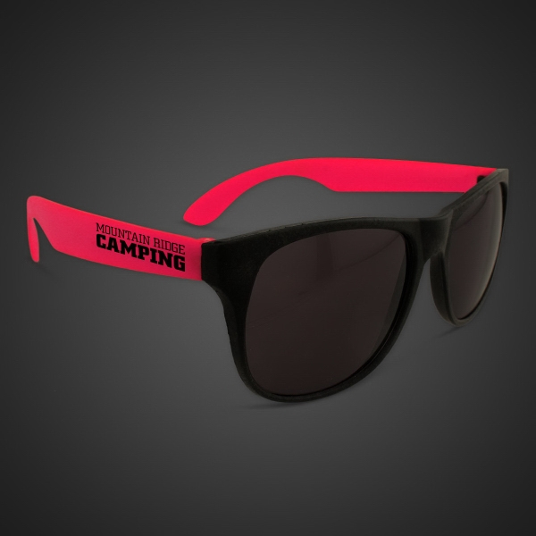 Custom Neon Sunglasses With Red Arms