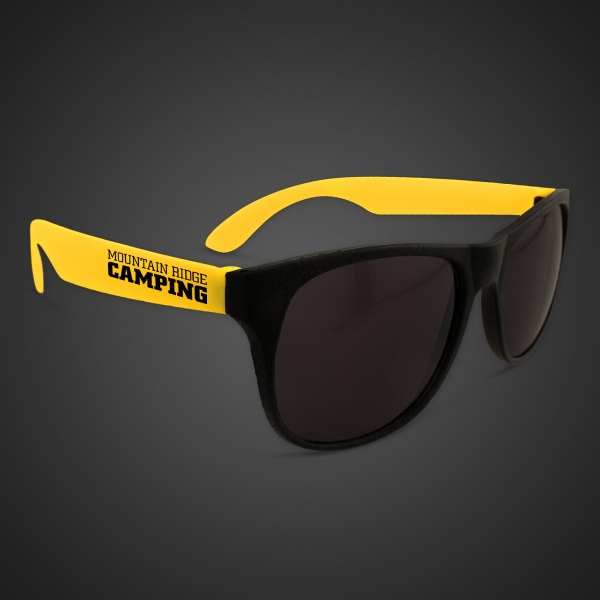 Imprinted Neon Sunglasses With Yellow Arms