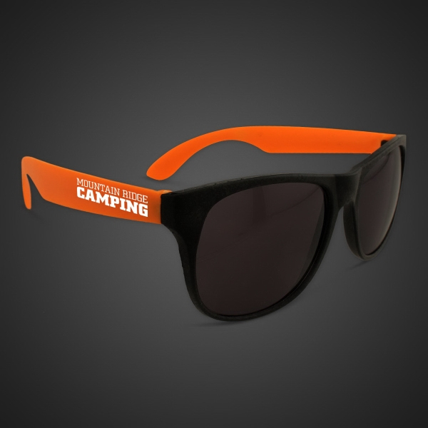 Imprinted Neon Sunglasses With Orange Arms