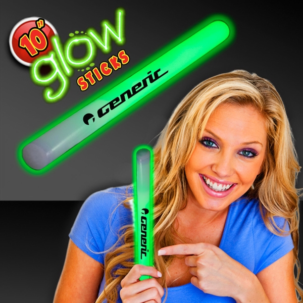 "Promotional Green Concert 10"" Glow light Sticks"