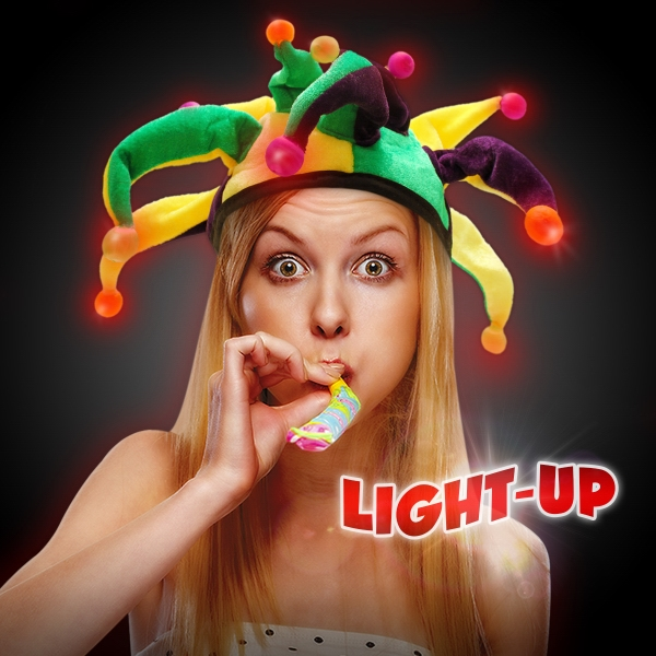Imprinted Light-Up LED Glow Mardi Gras Hat