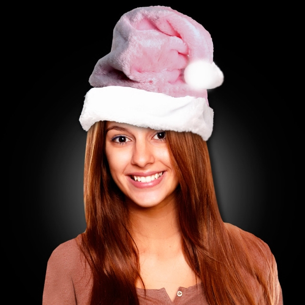 Promotional Mrs. Claus Pink Plush Santa Hat
