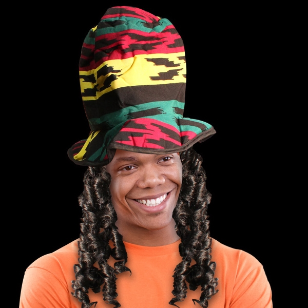 Printed Rasta Novelty Costume Top Hat with Dreads
