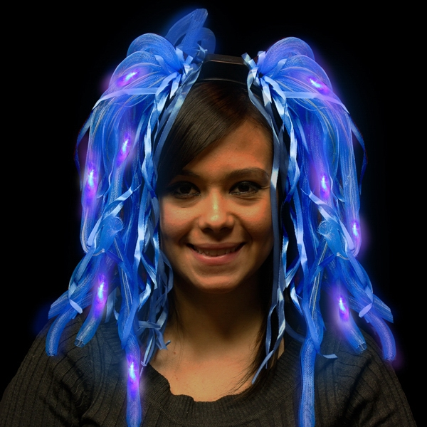 Promotional Blue Diva LED Light Up Dreads (TM) Costume Headband