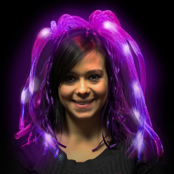 Printed Purple Diva LED Light Up Dreads (TM) LED Costume Headband