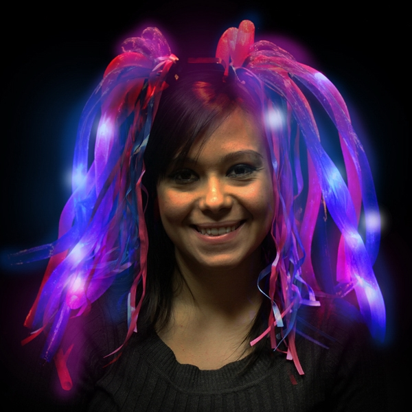 Printed Blue and Pink Diva Dreads (TM) LED Light Up Costume Headband