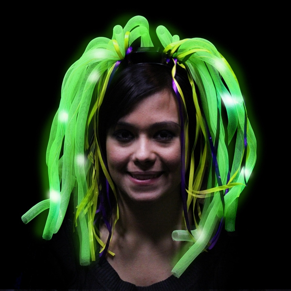 Personalized Mardi Gras Diva Dreads (TM) LED Light Up Costume Headband