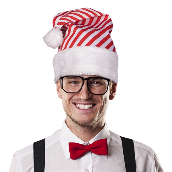 Printed Candy Cane Stripe Santa Hat