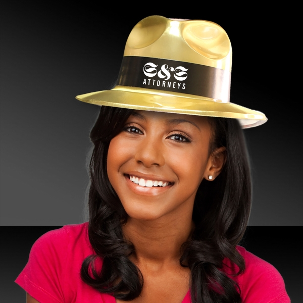 Imprinted Gold Metallic fedora gangster Hat