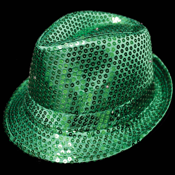 Imprinted Green Sequin Costume Fedora