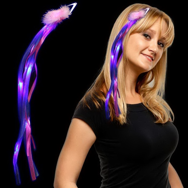 Customized Pink & Blue LED Light Up Ribbon Fascinator