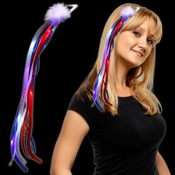 Personalized Patriotic LED Light Up  Ribbon Fascinator