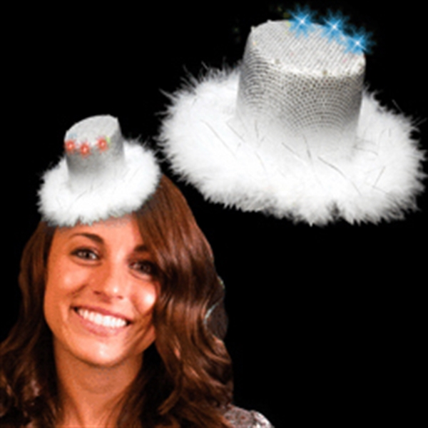 Promotional Silver Mini Light Up LED Glow Top Hat Costume Fascinator
