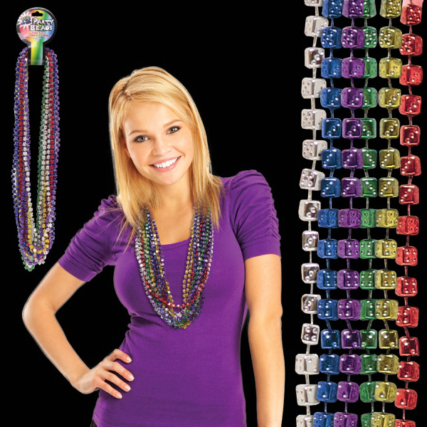 "Custom 33"" Mardi Gras Dice Bead Necklace"