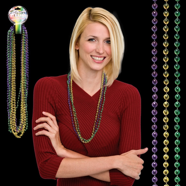 Customized Round Bead Mardi Gras Necklace