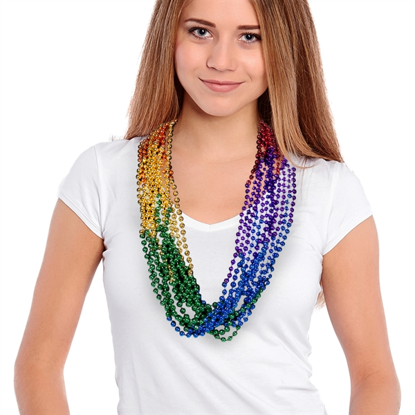 "Imprinted 33"" Rainbow (7mm) Segmented Mardi Gras Bead Necklace"