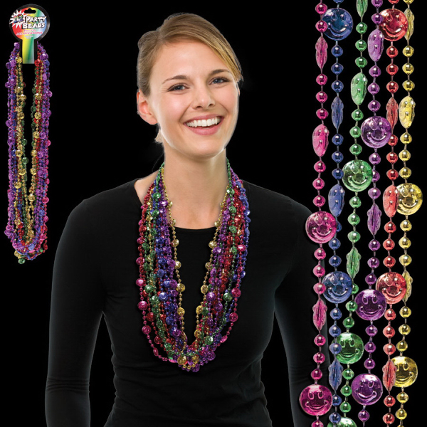 Promotional Smiley Face Beads Necklace