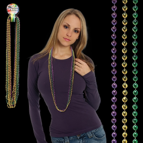 Imprinted Assorted Color Round Bead Mardi Gras Necklace