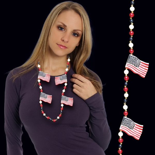 Customized USA Flag Beaded Necklace
