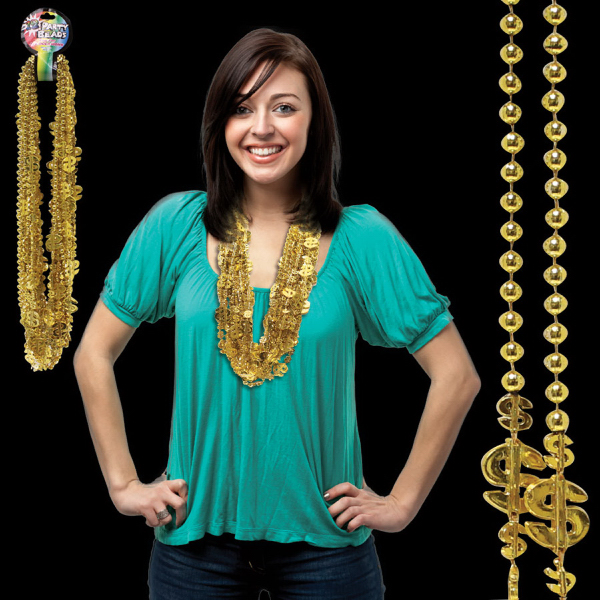 Promotional Dollar Sign Mardi Necklace