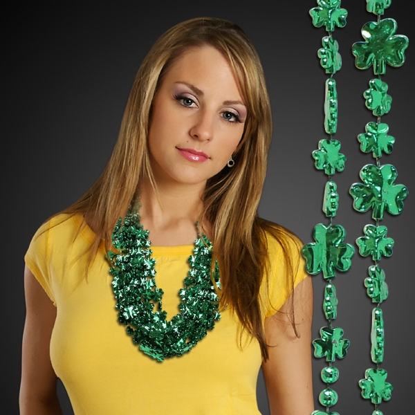 Imprinted Green Shamrock Beaded Necklace