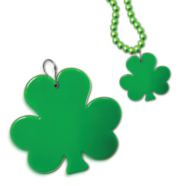 "Printed 2 1/2"" Clip On Shamrock Medallion Badge"