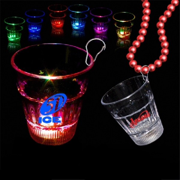 Promotional Lite-up Rainbow LED Glow Light Up Shot Glass with J Hook