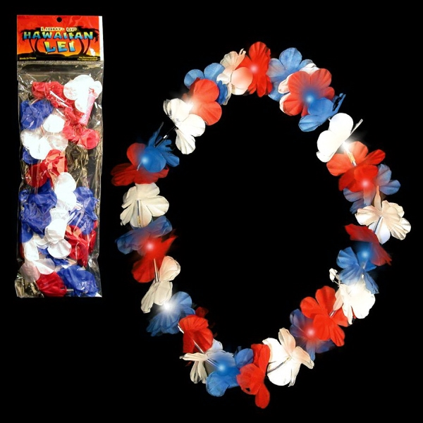 "Promotional LED Light Up Glow Red, White and Blue 33"" Flower Leis"