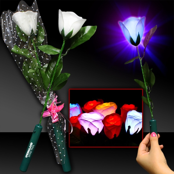 Personalized Light Up White Silk Rose Glow Flower with LED