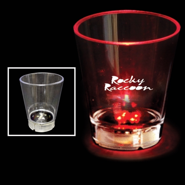Customized 2 oz. Acrylic Red Dice LED Light Up Glow  Shot Glass