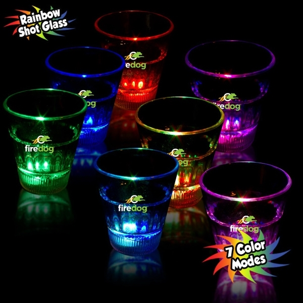 Promotional 2 oz. Rainbow Light-Up LED Glow Shot Glass