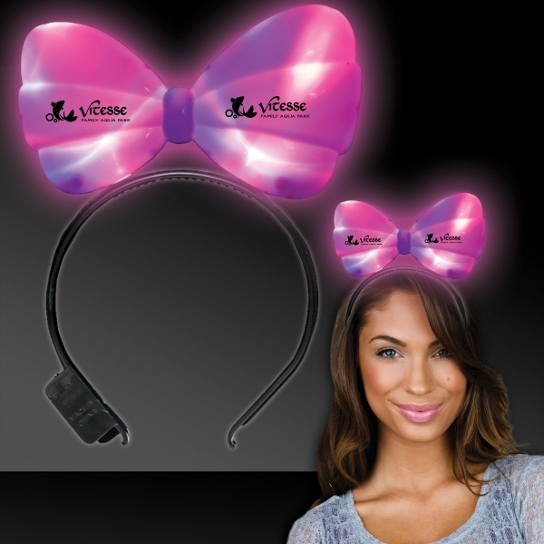 Printed LED Light Up Glow Bow Headband