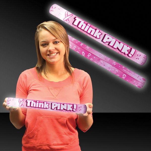 "Promotional 16"" Think Pink Ribbon Light Up LED Glow Lumiton"