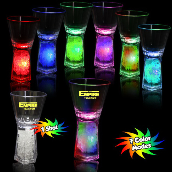 Personalized Light Up LED Glow Shot Glass with Pedestal Base