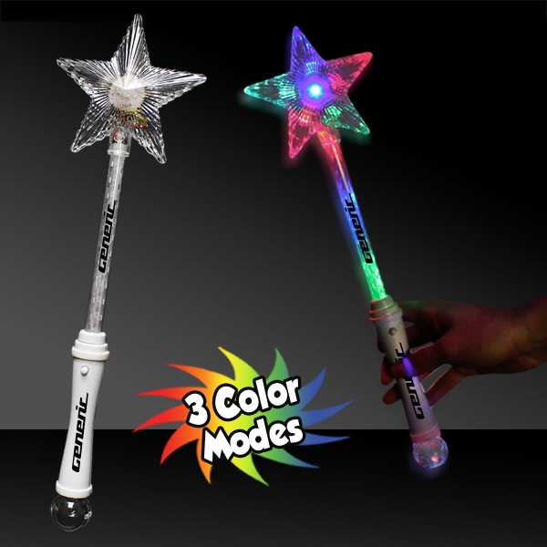 "Custom 15"" Multi Color LED Light Up Glow Star Wand"