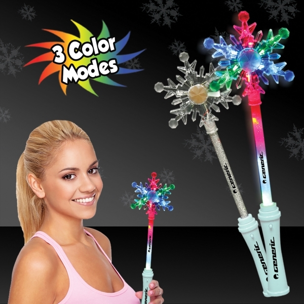 "Imprinted 15"" Light Up LED Glow Snowflake Wand"