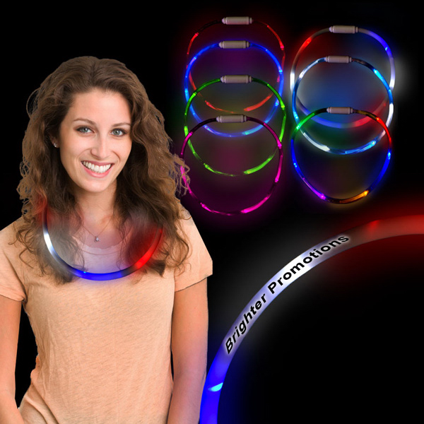 Personalized Red White and Blue Fiber Optic LED Light Up Necklace Jewelry